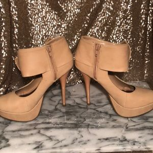 Nude Ankle Bow Pumps
